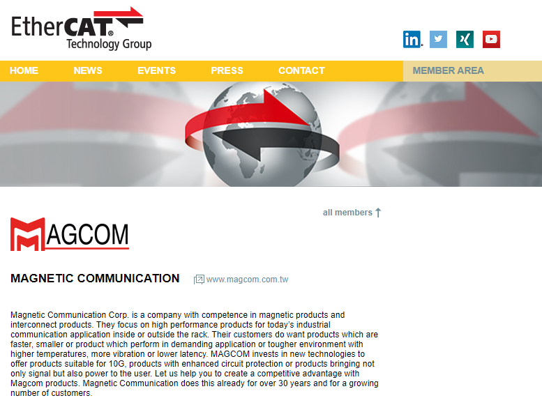 MAGCOM is a member of EtherCAT technology group